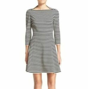 Kate-Spade-Broome-Street-Size-M-Black-White-Striped-with-Pockets-Dress