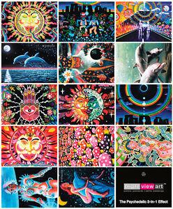 14-POSTCARDS-UV-Blacklight-Fluorescent-Glow-In-The-Dark-Psychedelic-Psy-Goa-Art