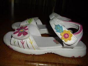 Euc girls size 10 rachel white sandals with flowers easy close ebay image is loading euc girls size 10 rachel white sandals with mightylinksfo