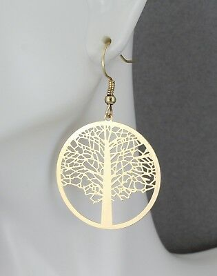 Gold Tree Of Life Earrings 1 7 8 Long Charm Pendant Symbol Knowledge Ebay