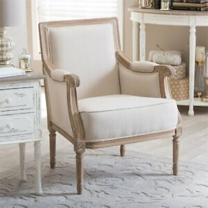 Peachy Details About Baxton Studio Chavanon Accent Chair In Light Beige And Brown Ibusinesslaw Wood Chair Design Ideas Ibusinesslaworg