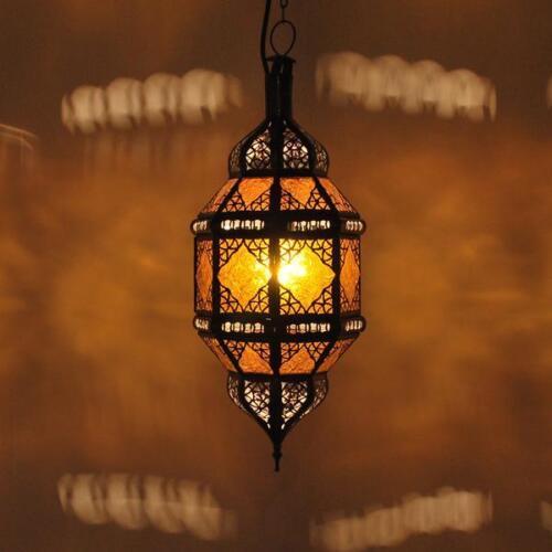 Orientalische Laterne Lampe Marokkanische Hängeleuchte Deckenlampe TITIA Amber