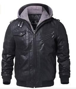 Mens Motorradjacke echt Leder mit Kapuze Biker Leather Leather jacket with Hoodi