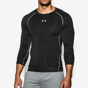 Professional Sale Under Armour Men's Heatgear Armour Long Sleeve Compression Shirt 1257471 Black To Help Digest Greasy Food Men's Clothing