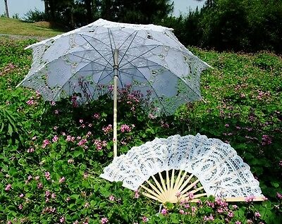 Victoria Style Handmade Lace Parasol Umbrella Hand Fan for Wedding Bridal Party