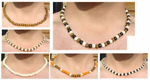 HAND-MADE-ROUND-BEADY-SURFER-ELASTIC-TRIBAL-WOODEN-46CM-NECKLACE-WITH-6MM-BEADS