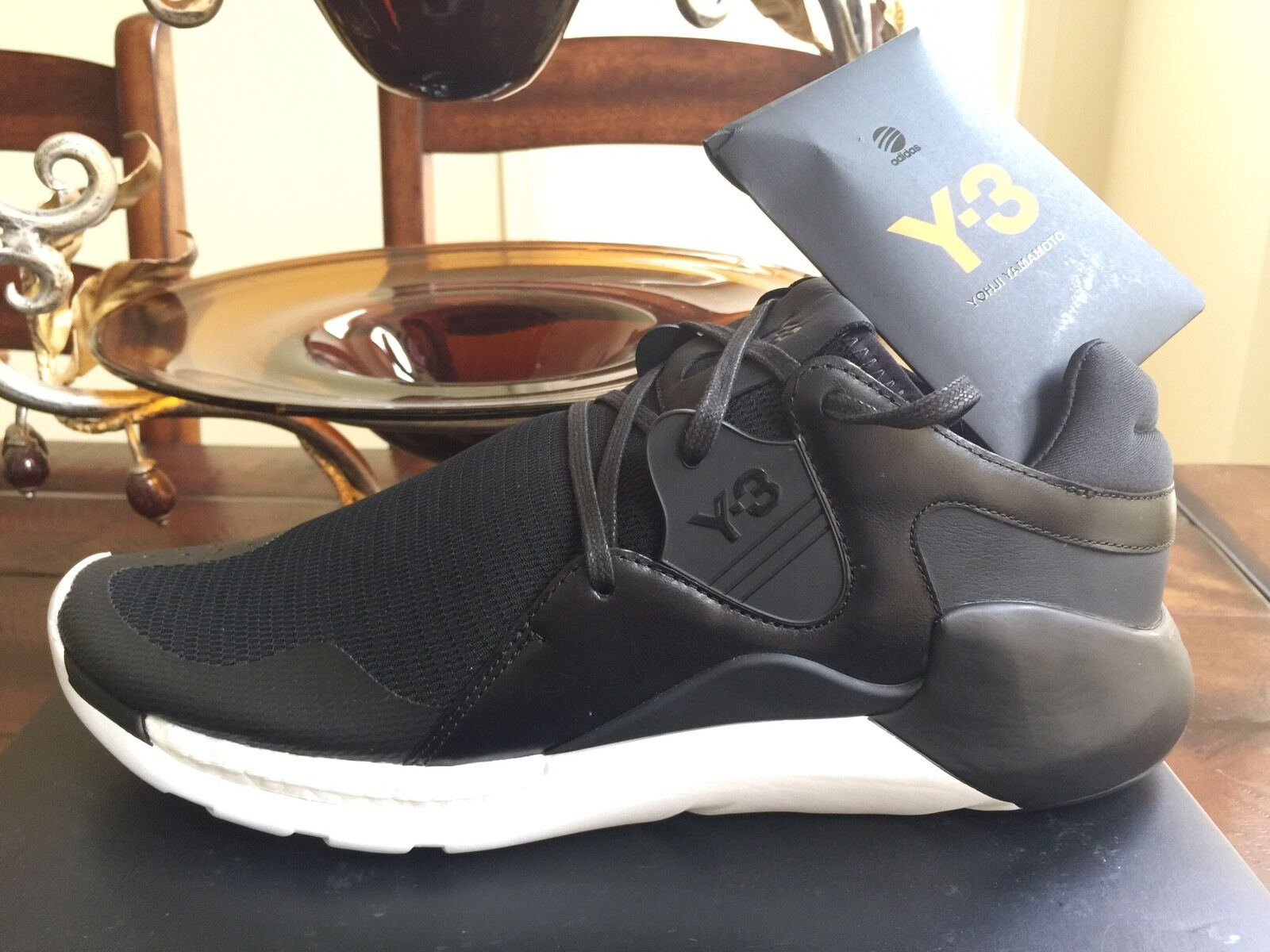 NEW MEN Y-3 ADIDAS 'QR RUN' BOOST HIGH TOP SNEAKERS SHOES US 9.5 100% AUTHENTIC
