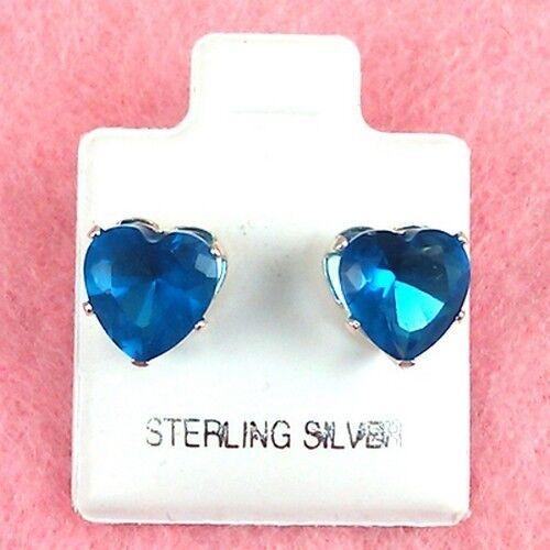 Sterling Silver 8mm Heart Blue Zircon CZ Stud Earrings SE346