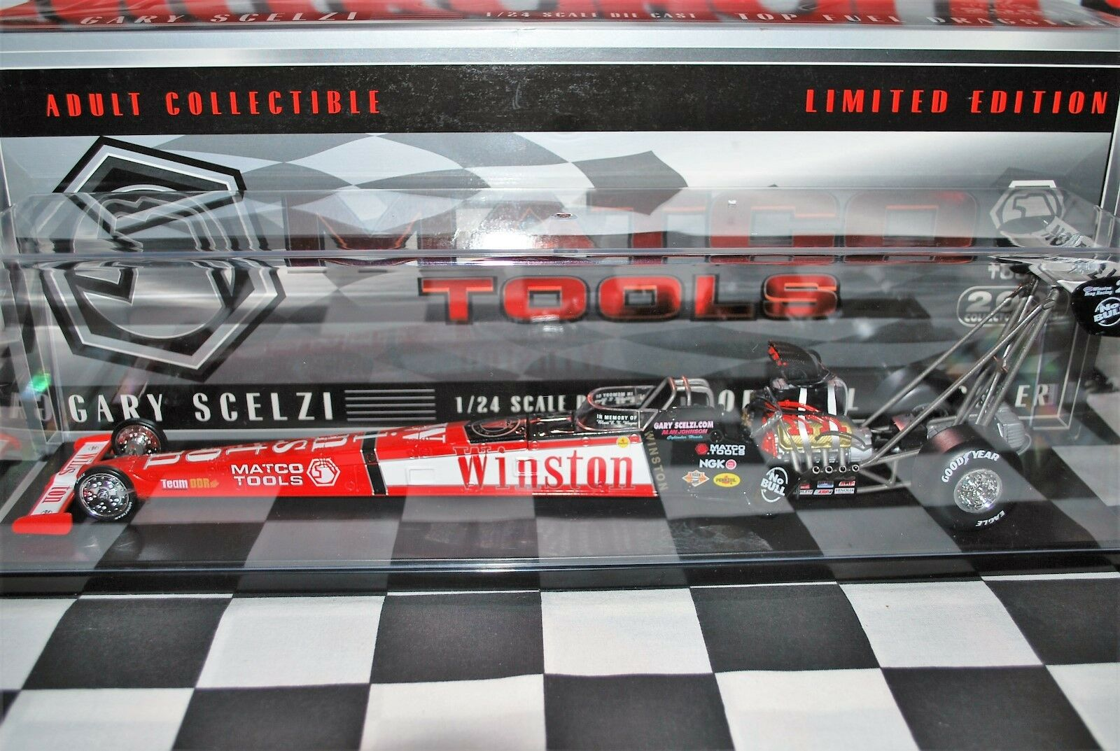 MATCO TOOLS GARY SCELZI 2001 WINSTON T0P FUEL DRAGSTER WITH CASE NHRA