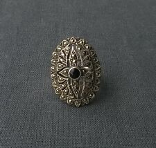 VINTAGE over sized STERLING SILVER black resin & Marcasite oval big ring size N