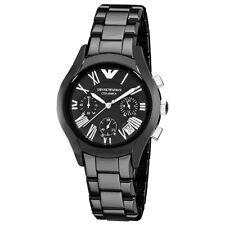 New Emporio Armani AR1401 Ceramica Black Chrono Ladies Bracelet Watch MSP$545