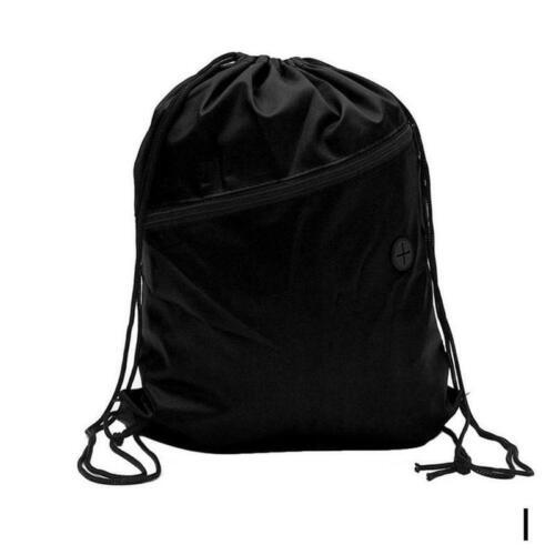 Drawstring Backpack Zippered Pocket Sport Bags Waterproof Cinch Sack Pack Bag