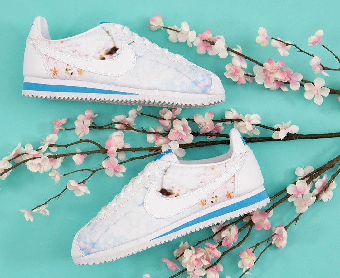 Nike Classic Cortez Cherry Blossom Floral White Pink bluee Multicolord Women's