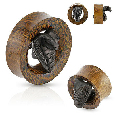 PAIR of Carved COBRA Snake ORGANIC WOOD EAR Gauges PLUGS SADDLE Tunnels Piercing
