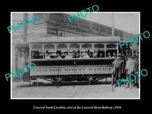 OLD-LARGE-HISTORIC-PHOTO-OF-CONCORD-NORTH-CAROLINA-THE-STREET-RAILROAD-CAR-1920