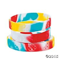 Autism Awareness Silicone Bracelets Set Of 12 Autism Awareness Multi-color