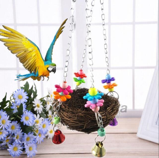 Parrot Bird Swing Hanging Chew Toys Parakeet Budgie Cockatiel Nest Hammock Cute