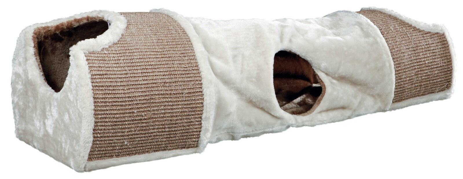 Trixie Trixie Trixie Kratztunnel für Katzen mit Plüsch Bezug 110 × 30 × 38 cm lichtgrau braun 6d5920