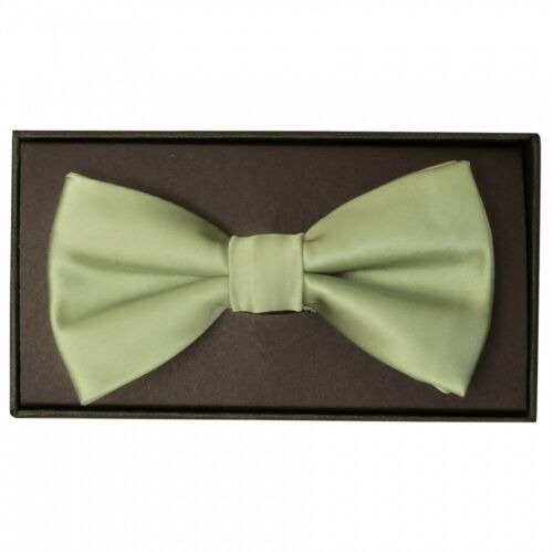 Handmade Sage Green Men Bow Tie and Pocket Square Set Dickie Bow Pre Tied Bow