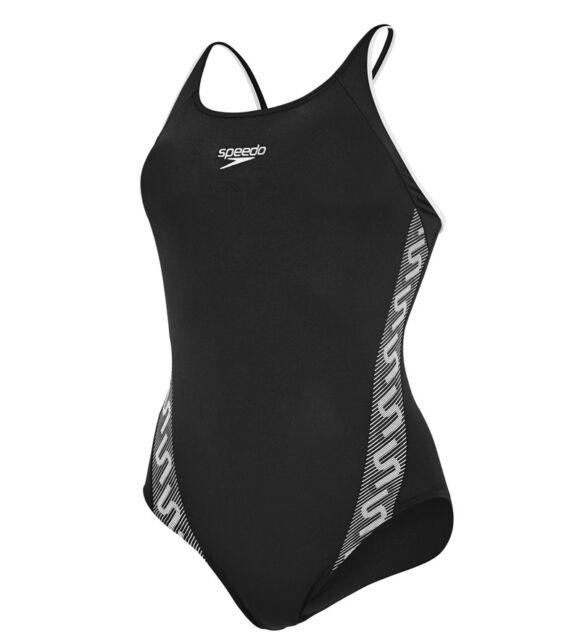 "80ecf197dfdc9 Speedo Girls Endurance+ Monogram Muscleback Swimsuit – Black/White -24"" 5-6"