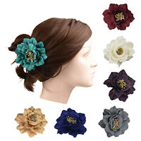 Wedding Up-do Hair Clips Stunning Rose Flower With Gold Center Hair Accessory