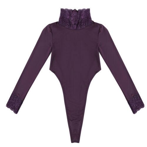 Womens One Piece Long Sleeve Romper Jumpsuit Bodysuit Bodycon Leotard Top Shirts