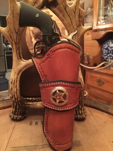 Western Leather Gun Holster  Single Action Revolver CROSS DRAW Colt Sass Ruger
