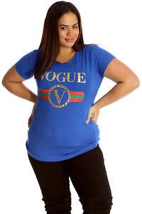 New Womens Plus Size T-Shirt Ladies Vogue Print Short Sleeve Top Sale Soft Style