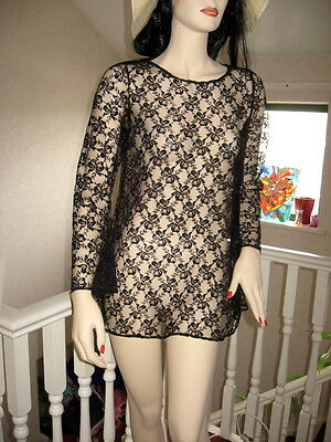 New Sexy Black Floral Sheer Lace Tunic Top/Mini skater dressGoth Party All sizes