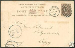 British-CEYLON-en-Allemagne-034-une-034-annuler-sur-entiers-postaux-1895-VF