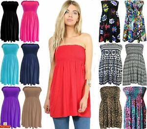 Womens Ladies Plus Size Sheering Boobtube Bandeau Strapless Top Vest Dress 8-22