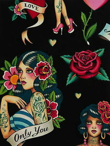 Alexander Henry Nicole's Prints Don't Gamble with Love Black Cotton Fabric BTY