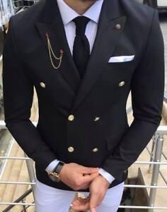 Details zu Designer Schwarz Zweireiher Doppelreiher Sakko Blazer Jacke Tailliert Slim Fit