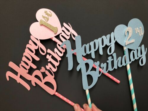 Personnalisé Happy Birthday Cake Joyeux Anniversaire 1st 2nd 3rd 4th cake topper