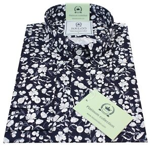 Relco Men/'s White Blue Floral Long Sleeved Button Down Vintage 60/'s Mod Shirt