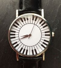 Black Faux Leather Strap Quirky Women Wrist Watch Music Piano Ladies Xmas