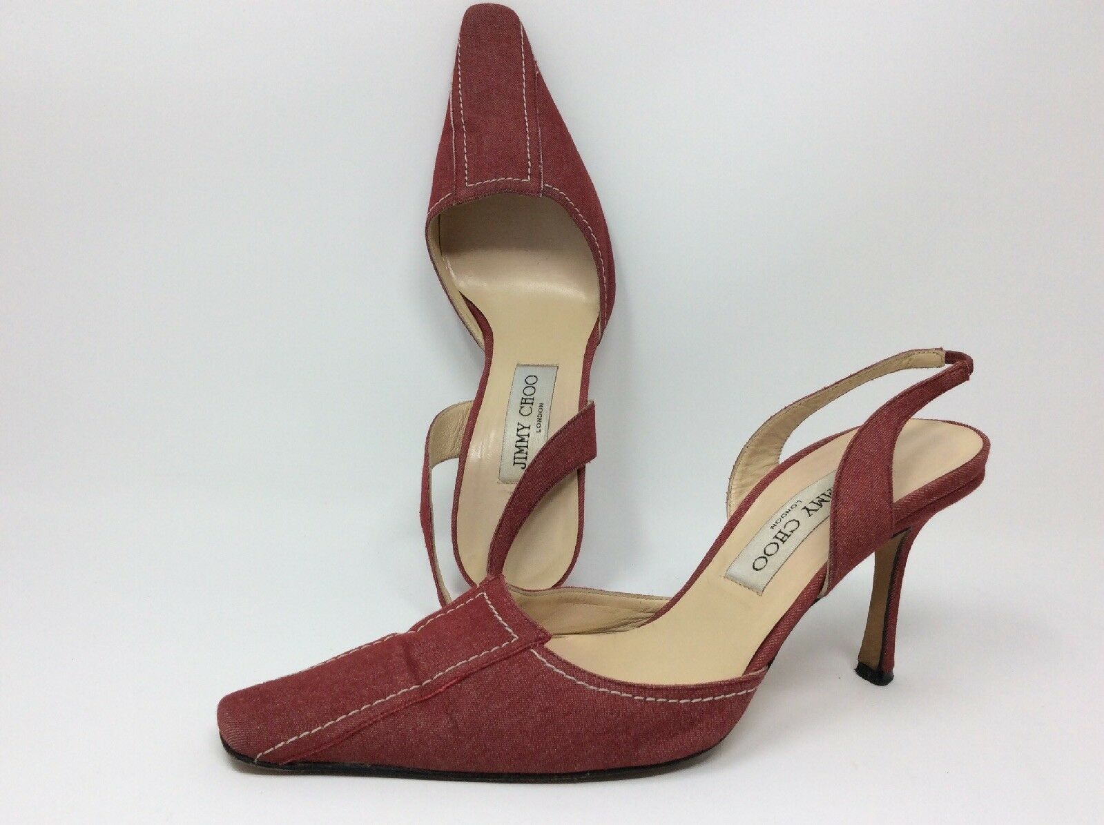 Jimmy Choo rot, Pumps, 38,Sling-Backs,High Heels, rot, Choo Jeansoptik, innen/Sohle Leder, cc0e03