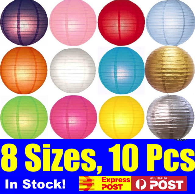 10x Paper Lanterns Home Decoration Wedding Red Black White Silver Gold Pink Blue