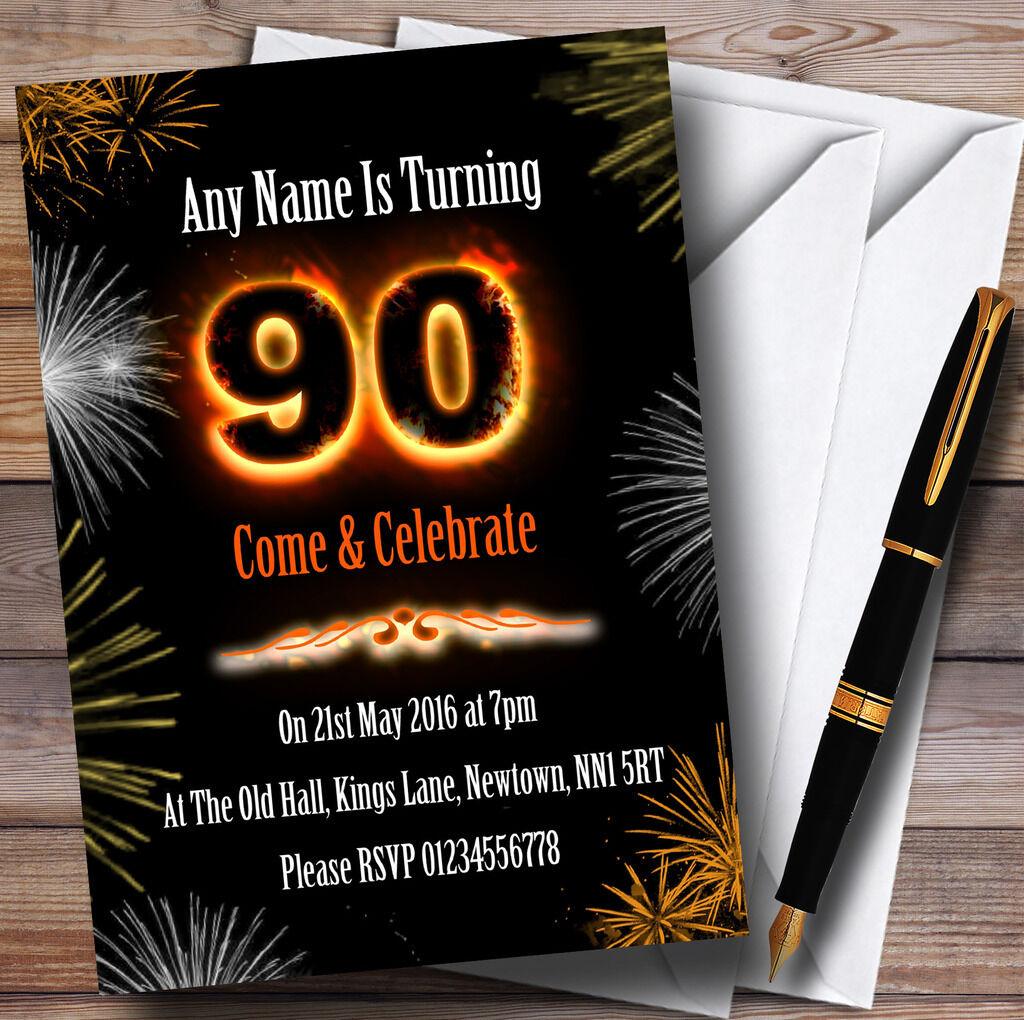 Incendie et feux d'artifice 90ème anniversaire invitations party invitations anniversaire personnalisées 734184