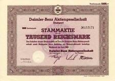 Daimler-Benz AG Stuttgart histor. Auto Aktie 1942 Mercedes Formel 1 Württemberg