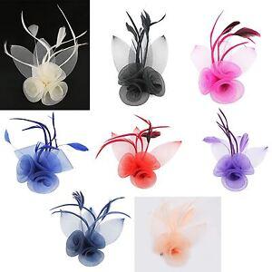 Flower Hair Clip Feather Small Mini Top Hat Fascinator Wedding Ascot ... 99c109f8fa6