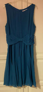 Lovely-LK-Bennett-Blue-Silk-Dress-Size-UK-14