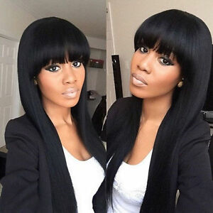 LMJF335 70cm long natural hair new design black health wigs for women wig