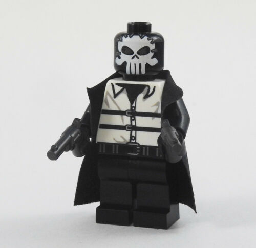 Super heroes Marvel minifigures on lego bricks Custom Punisher Noir