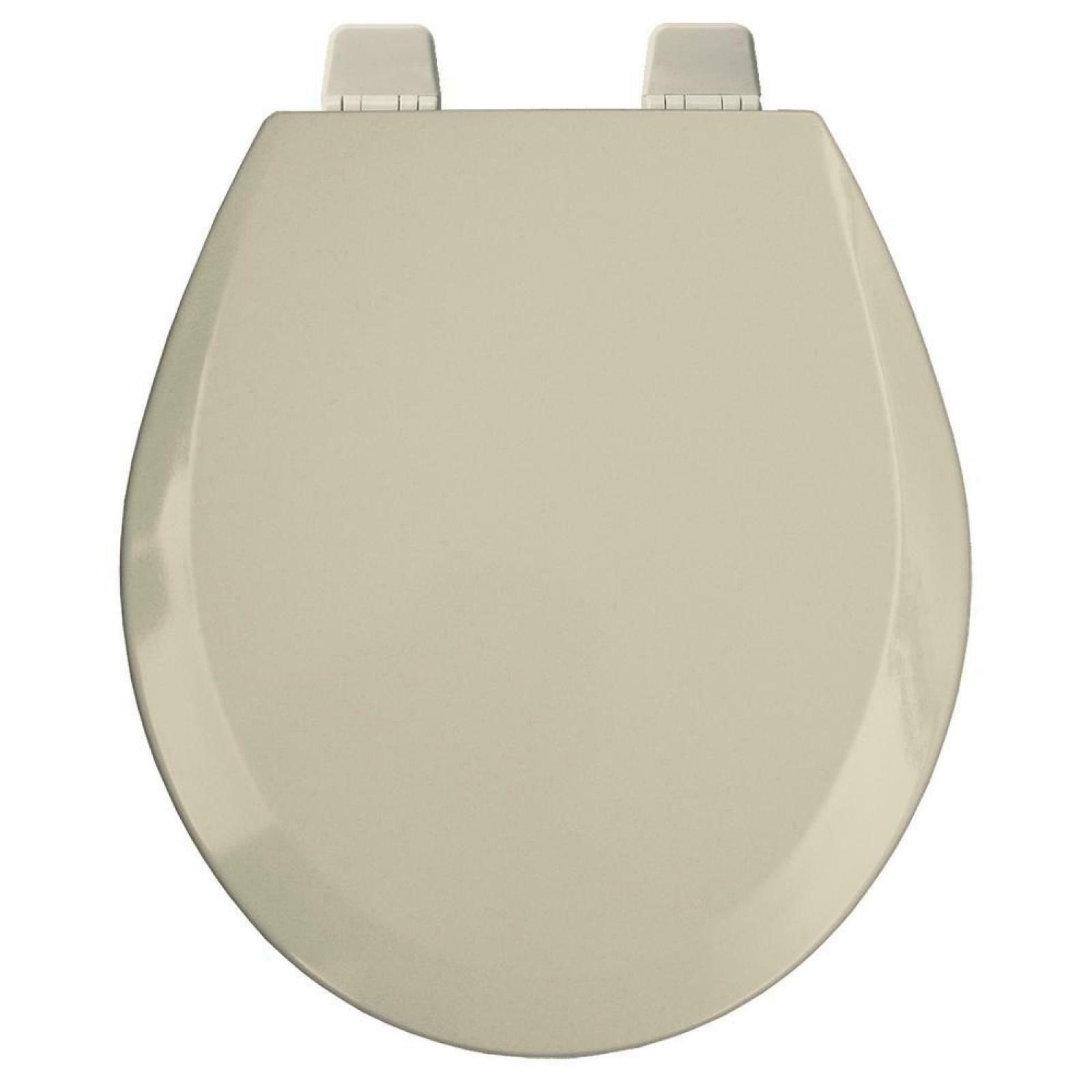 NEW Round Open Front Toilet Seat Lid Cover Beige Wood Hardware Hinges Bumpers
