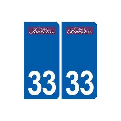 33 Berson logo ville autocollant plaque stickers -  Angles : droits