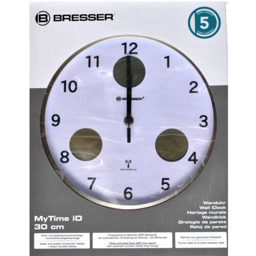 Bresser MyTime Funk Wanduhr 30 cm Thermometer Hygrometer weiß-schwarz