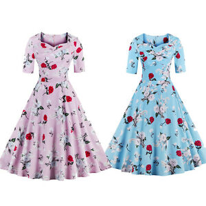 Women-Vintage-Style-Rose-Printing-50s-60s-Rockabilly-Flared-Party-Swing-Dress