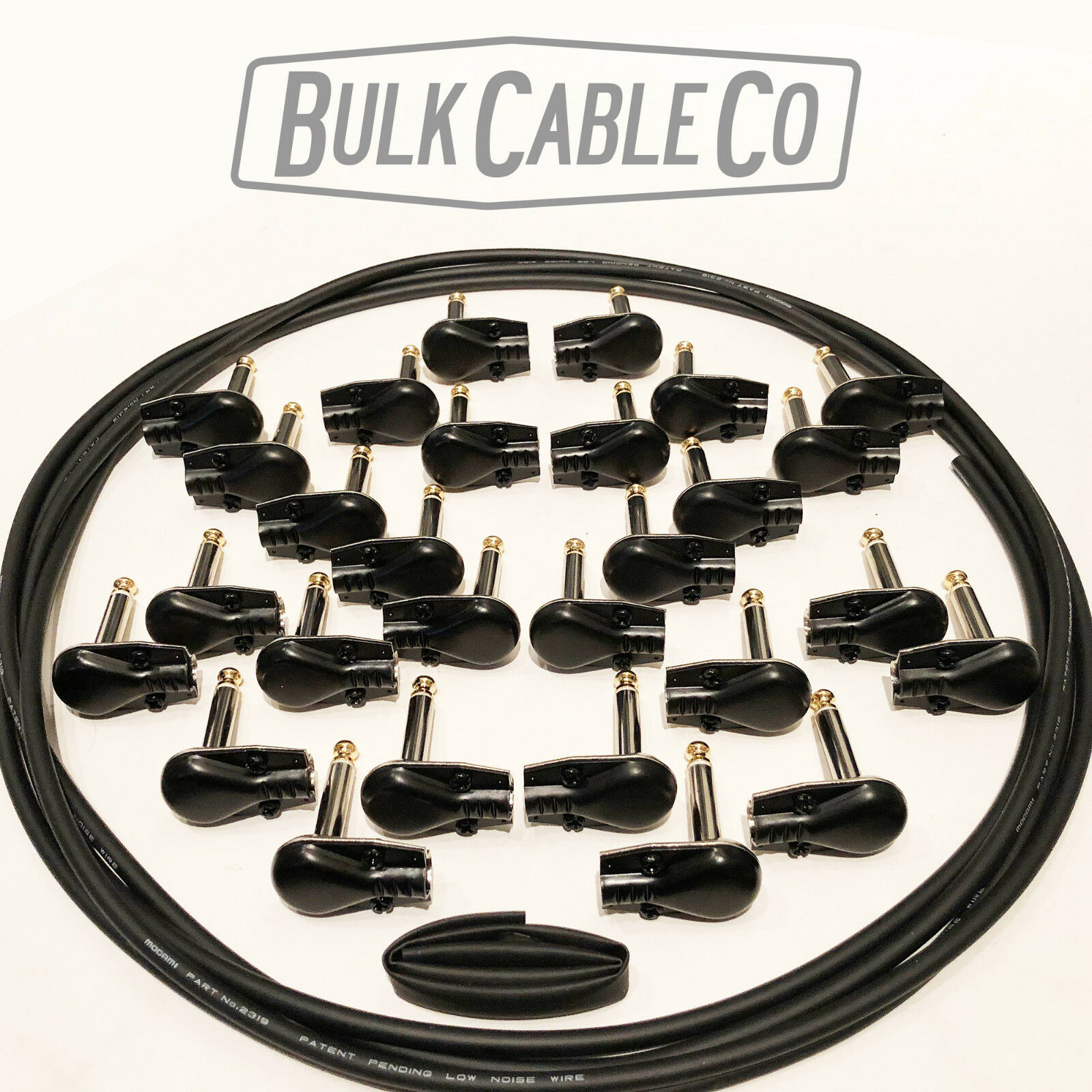 PEDAL BOARD PATCH CABLE KIT - 14 CABLES - 21' MOGAMI 2319 - 28 BLK PANCAKE PLUGS