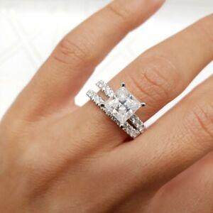 2-70ct-Diamante-Corte-Princesa-nupcial-conjunto-Anillo-De-Compromiso-Banda-De-Oro-Blanco-Acabado